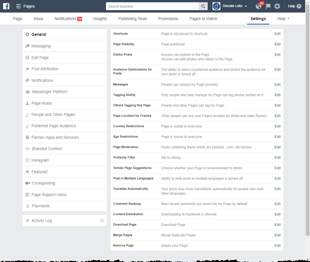 Facebook General Configuration